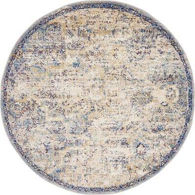 Koury Light Blue/Beige Area Rug Rug Size: Round 5 x 5