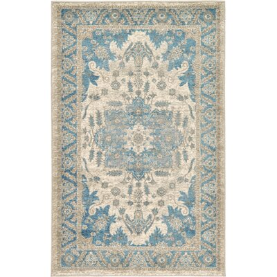 Jaiden Cream/Blue Area Rug Rug Size: 33 x 53