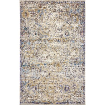 Koury Light Blue/Beige Area Rug Rug Size: Rectangle 5 x 8