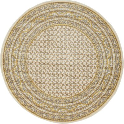 Angie Beige Area Rug Rug Size: Round 5
