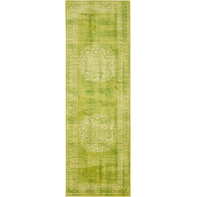 Neuilly Beige/Green Area Rug Rug Size: Runner 3 x 91