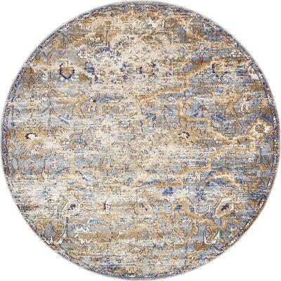 Koury Light Blue/Beige Area Rug Rug Size: Round 8 x 8