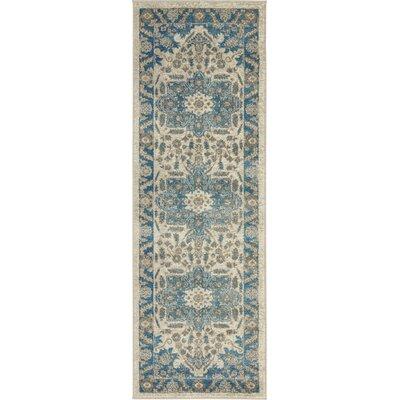 Jaiden Cream/Blue Area Rug Rug Size: Runner 2 x 6