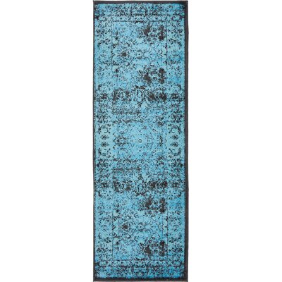 Neuilly Blue/Black Area Rug Rug Size: Runner 3 x 91