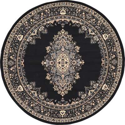 Britain Black Area Rug Rug Size: Round 8