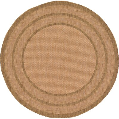 Naples Light Brown Outdoor Area Rug Rug Size: Round 6