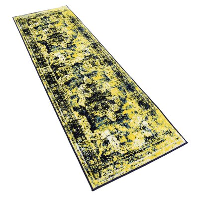 Brandt Navy Blue/ Yellow Area Rug Rug Size: Runner 2 x 13