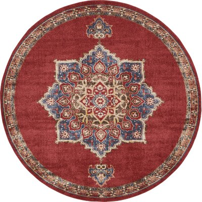 Dulin Terracotta Area Rug Rug Size: Round 8 x 8