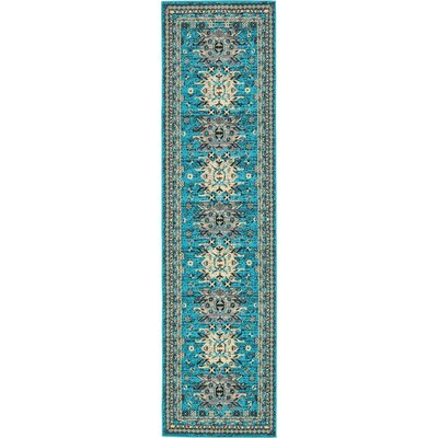 Sina Turquoise Area Rug Rug Size: Runner 27 x 10