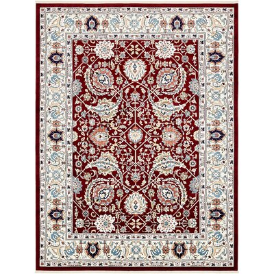 Courtright Burgundy/Ivory Area Rug Rug Size: Rectangle 13 x 198