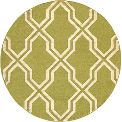 Marika Light Green Area Rug Rug Size: Round 6