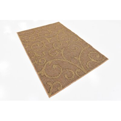 Pizano Light Brown Outdoor Area Rug Rug Size: Rectangle 4 x 6