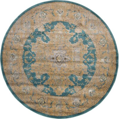 Essex Teal Area Rug Rug Size: Round 6