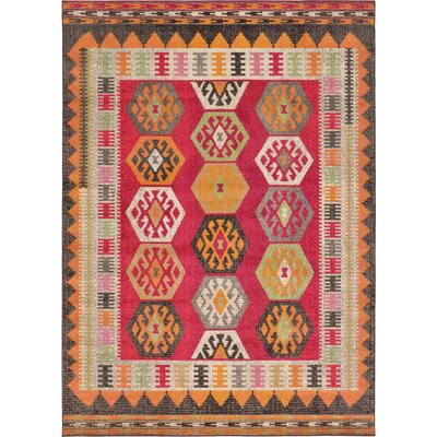 Phillips Red Area Rug Rug Size: 7 x 10