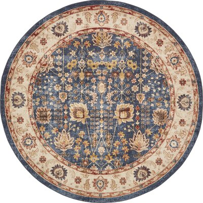 Bridgeport Light Blue Area Rug Rug Size: Round 8 x 8