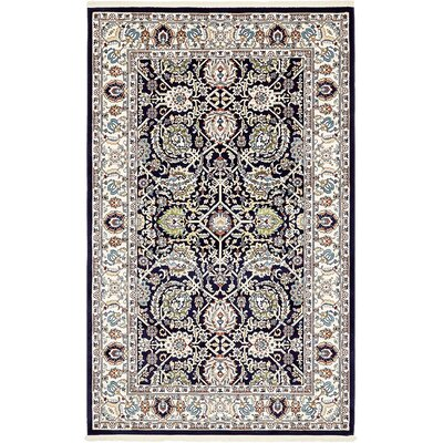 Courtright Navy Blue/Tan Area Rug Rug Size: 5 x 8