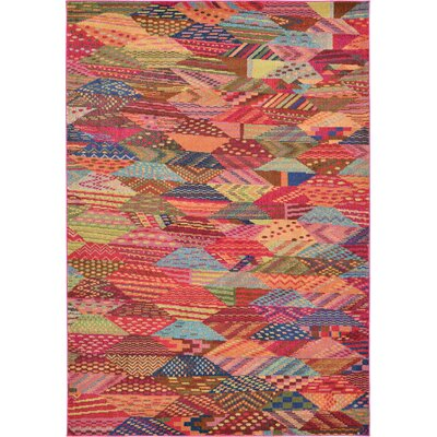 Aquarius Red/Blue Area Rug Rug Size: 67 x 96