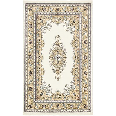 Courtright Cream/Ivory Area Rug Rug Size: 5 x 8