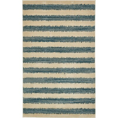 Travis Blue/Beige Striped Area Rug Rug Size: 5 x 8