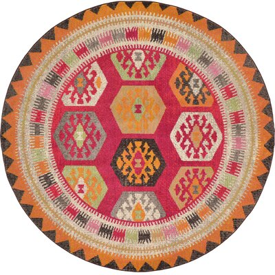 Phillips Red Area Rug Rug Size: Round 8