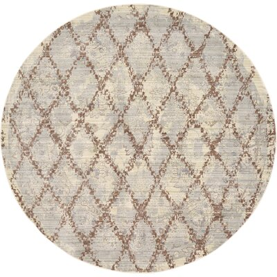 Karlee Gray Area Rug Rug Size: Round 6