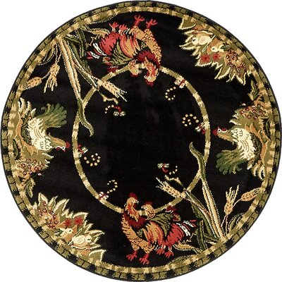 Andersonville Black Area Rug Rug Size: Round 4