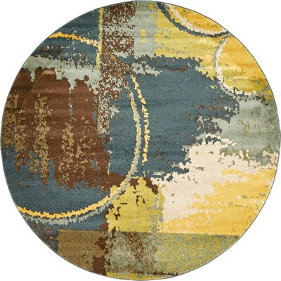 Shrivastava Dark Blue Area Rug Rug Size: Round 6