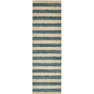 Travis Blue/Beige Striped Area Rug Rug Size: Runner 3 x 10