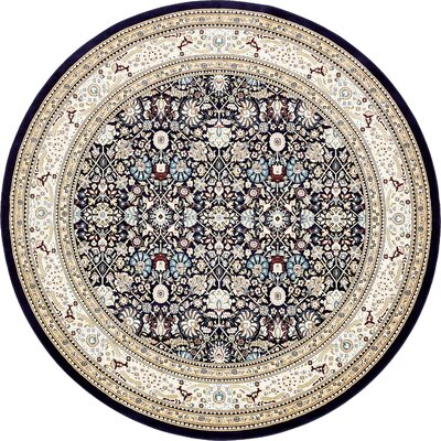 Courtright Navy Blue/Tan Area Rug Rug Size: Round 10