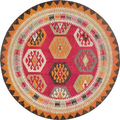Phillips Red Area Rug Rug Size: Round 6