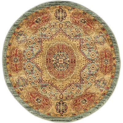Laurelwood Red/Beige Area Rug Rug Size: Round 33