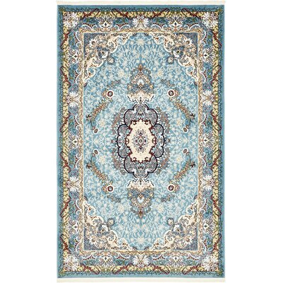 Courtright Blue/Tan Area Rug Rug Size: 5 x 8