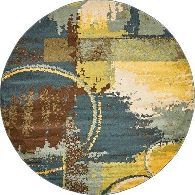 Shrivastava Dark Blue Area Rug Rug Size: Round 8