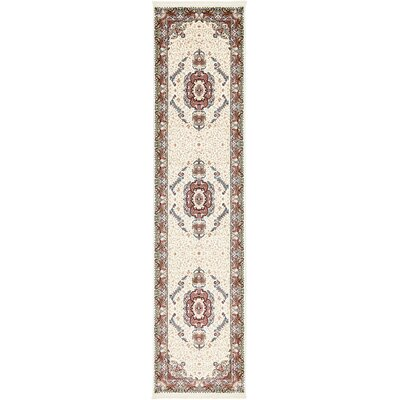 Courtright Cream/Burgundy Area Rug Rug Size: Runner 3 x 13