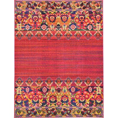 Iris Red Area Rug Rug Size: 9 x 12
