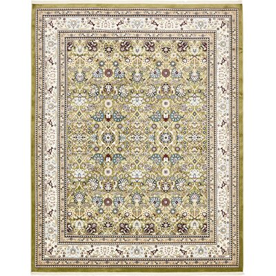 Courtright Green/Tan Area Rug Rug Size: Rectangle 8 x 10