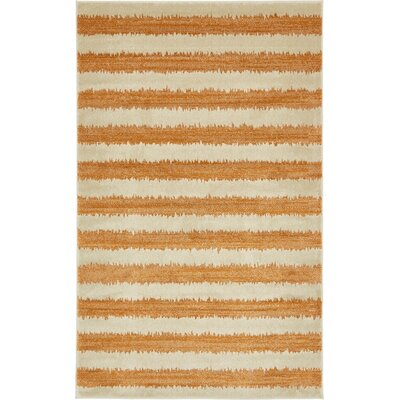 Travis Orange/Beige Area Rug Rug Size: 5 x 8