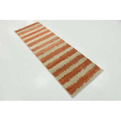 Travis Orange/Beige Area Rug Rug Size: Runner 2 x 6