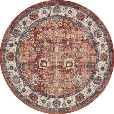 BallyS Terracotta Area Rug Rug Size: Round 8 x 8