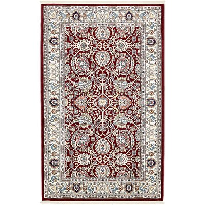 Courtright Burgundy/Ivory Area Rug Rug Size: 5 x 8