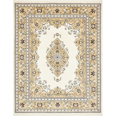 Courtright Cream/Ivory Area Rug Rug Size: Rectangle 8 x 10