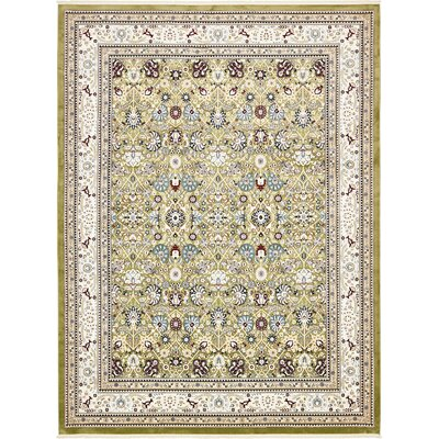 Courtright Green/Tan Area Rug Rug Size: Rectangle 5 x 8