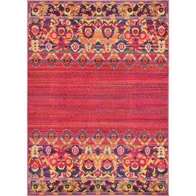 Iris Red Area Rug Rug Size: Rectangle 8' x 11'
