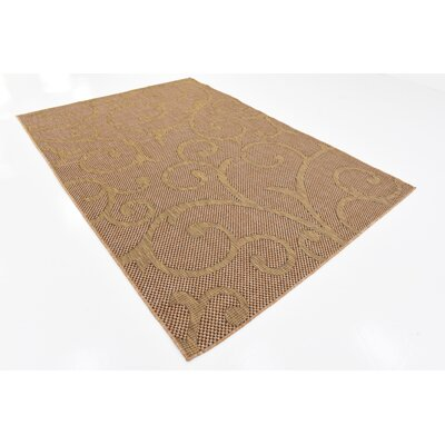 Pizano Light Brown Outdoor Area Rug Rug Size: Rectangle 6 x 9