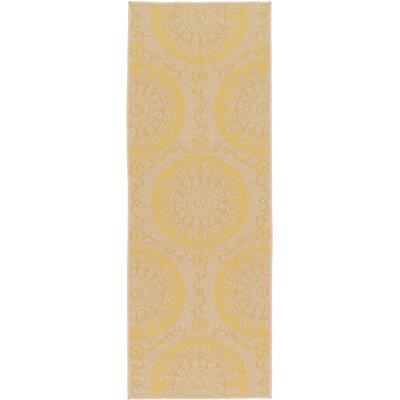 Arabian Yellow Indoor/Outdoor Area Rug Rug Size: Runner 22 x 6