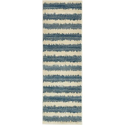 Travis Blue/Beige Striped Area Rug Rug Size: Runner 2 x 6