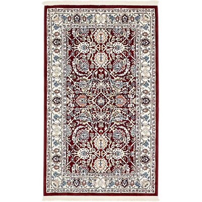 Courtright Burgundy/Ivory Area Rug Rug Size: 3 x 5