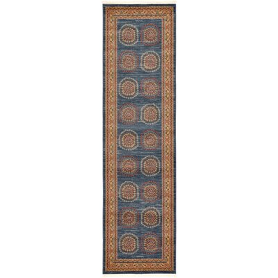 Virginia Blue/Brown Area Rug Rug Size: Runner 3 x 10