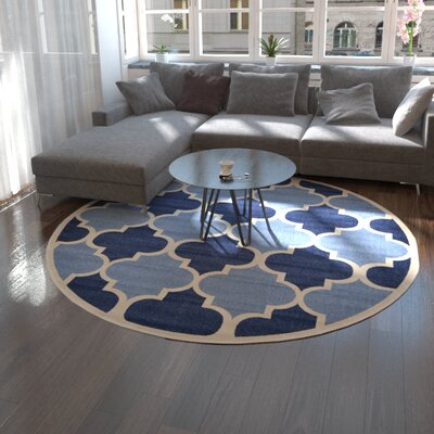 Moore Light Blue Area Rug Rug Size: Round 8