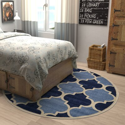 Moore Light Blue Area Rug Rug Size: Round 6
